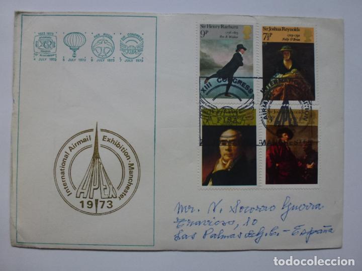 SOBRE INTERNATIONAL AIRMAIL EXHIBITION MANCHESTER. 1973. SELLOS MATASELLADOS (Sellos - Historia Postal - Sello Español - Sobres Primer Día y Matasellos Especiales)
