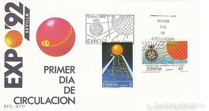 SOBRE PRIMER DIA EXPO'92 BARCELONA 12 ABRIL 1988. LA ERA DE LOS DESCUBRIMIENTOS. EDIFIL 2939/40 (Sellos - Historia Postal - Sello Español - Sobres Primer Día y Matasellos Especiales)