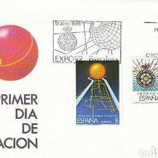 Sellos: SOBRE PRIMER DIA EXPO'92 BARCELONA 12 ABRIL 1988. LA ERA DE LOS DESCUBRIMIENTOS. EDIFIL 2939/40. Lote 157743418