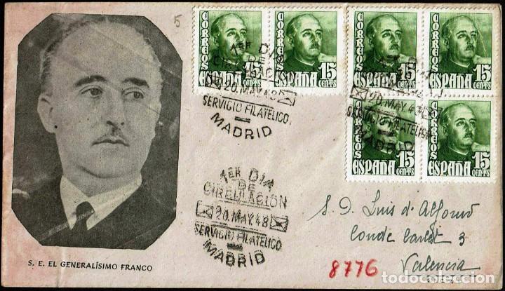 SPD ESPAÑA 1948 - GENERAL FRANCO, EDIFIL 1021 (Sellos - Historia Postal - Sello Español - Sobres Primer Día y Matasellos Especiales)