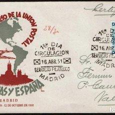 Sellos: SPD ESPAÑA 1951 - VI CONGRESO U.POSTAL AMERICAS, EDIFIL 1091. Lote 158453982