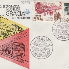 Sellos: 1989 BARCELONA , XL EXPOSICION FILATELICA GRACIA , TREN , LOCOMOTORA , FERROCARRIL .. .SOBRE. Lote 158456806