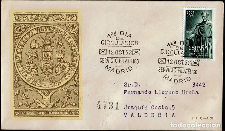 SPD ESPAÑA 1953 - VII CENT. UNIVERSIDAD SALAMANCA (Sellos - Historia Postal - Sello Español - Sobres Primer Día y Matasellos Especiales)
