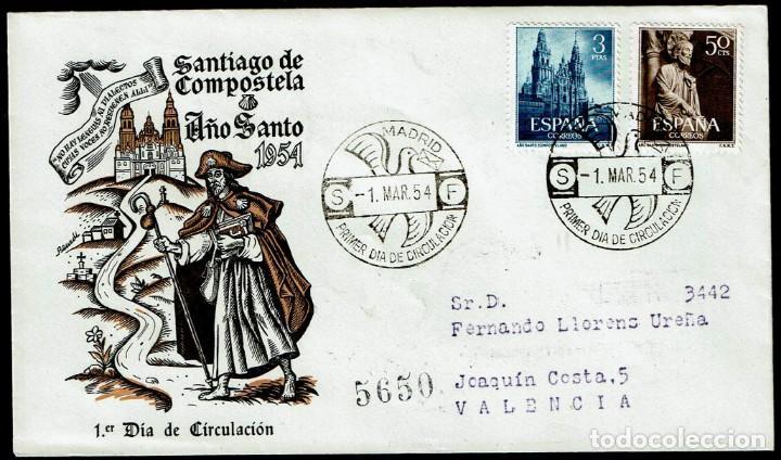 SPD ESPAÑA 1954 - AÑO SANTO COMPOSTELANO (Sellos - Historia Postal - Sello Español - Sobres Primer Día y Matasellos Especiales)