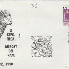 Timbres: 1990 VIC ( BARCELONA ) , X EXPOSICION. MERCAT DEL RAM . SOBRE ALFIL. Lote 158649398