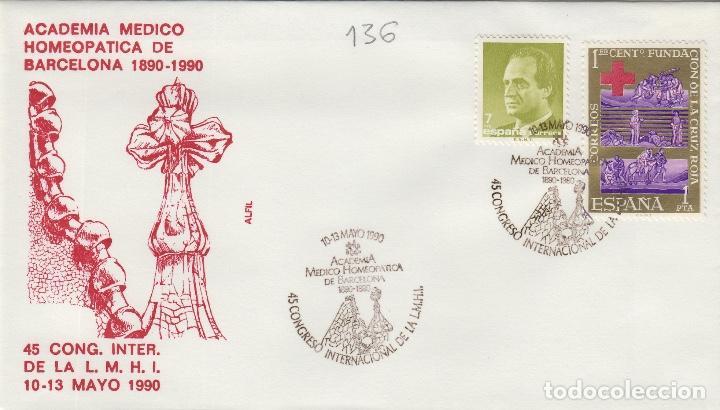 1990 BARCELONA , ACADEMIA MÉDICO HOMEOPATICA , MEDICINA 45 CONGRESO INT . SOBRE ALFIL (Sellos - Historia Postal - Sello Español - Sobres Primer Día y Matasellos Especiales)