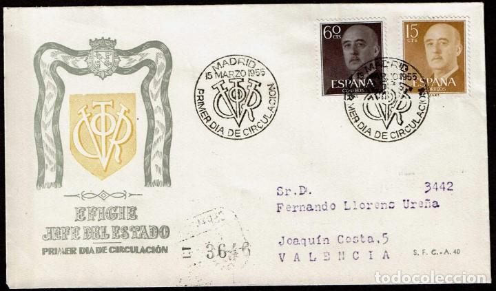 SPD ESPAÑA 1955 - GENERAL FRANCO, EDIFIL 1144 Y 1150 (Sellos - Historia Postal - Sello Español - Sobres Primer Día y Matasellos Especiales)