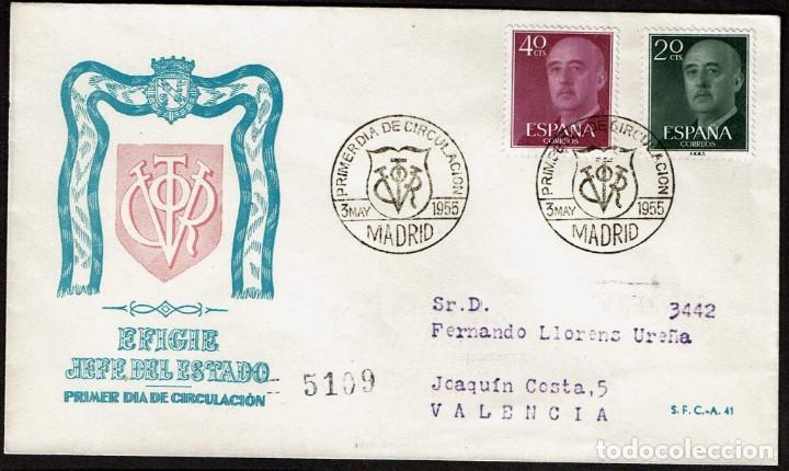 SPD ESPAÑA 1955 - GENERAL FRANCO, EDIFIL 1145 Y 1148 (Sellos - Historia Postal - Sello Español - Sobres Primer Día y Matasellos Especiales)