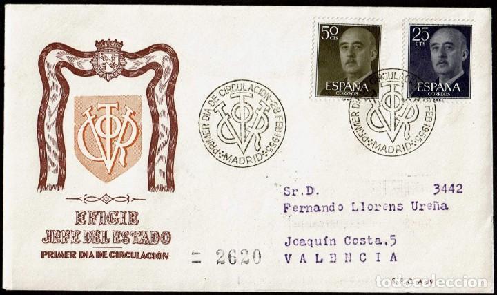 SPD ESPAÑA 1955 - GENERAL FRANCO, EDIFIL 1146 Y 1149 (Sellos - Historia Postal - Sello Español - Sobres Primer Día y Matasellos Especiales)