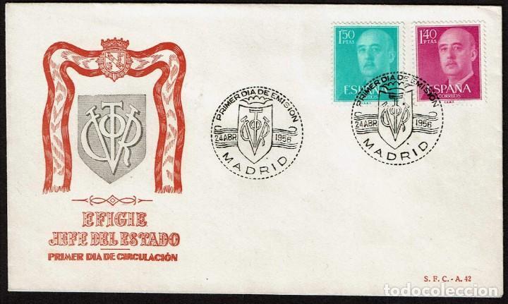 SPD ESPAÑA 1956 - GENERAL FRANCO, EDIFIL 1154 Y 1155 (Sellos - Historia Postal - Sello Español - Sobres Primer Día y Matasellos Especiales)