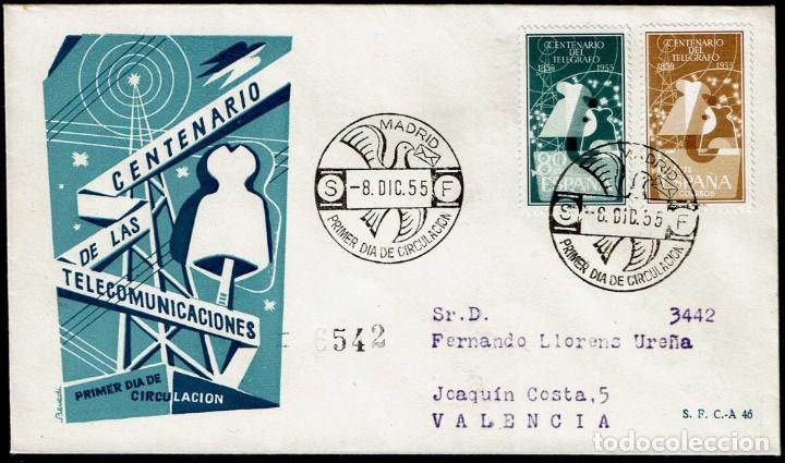 SPD ESPAÑA 1955 - I CENT. TELÉGRAFO, EDIFIL 1180 Y 1181 (Sellos - Historia Postal - Sello Español - Sobres Primer Día y Matasellos Especiales)