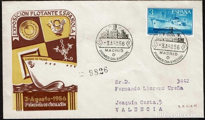 SPD ESPAÑA 1956 - EXPOS. FLOTANTE BUQUE CIUDAD DE TOLEDO (Sellos - Historia Postal - Sello Español - Sobres Primer Día y Matasellos Especiales)