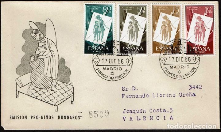 SPD ESPAÑA 1956 - PRO INFANCIA HÚNGARA, EDIFIL 1201 Y 1203 (Sellos - Historia Postal - Sello Español - Sobres Primer Día y Matasellos Especiales)