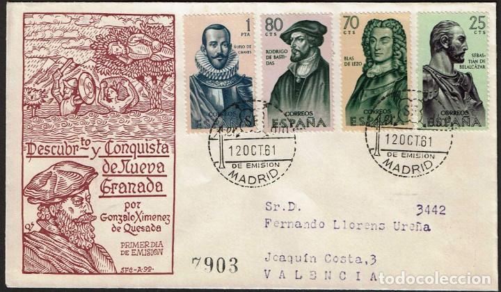 SPD ESPAÑA 1961 - FORJADORES AMERICA, EDIFIL 1374 A 1377 (Sellos - Historia Postal - Sello Español - Sobres Primer Día y Matasellos Especiales)