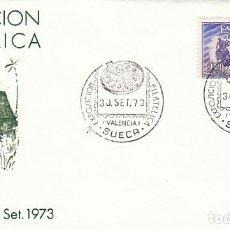 Sellos: AÑO 1973,SUECA (VALENCIA), LA PAELLA, EXPOSICION, SOBRE DE ALFIL. Lote 159387738