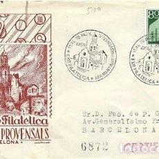 Sellos: SOBRE 308 MATASELLOS ESPECIAL EXPOSICION FILATELICA SAN MARTIN DE PROVENSALS 11 A 15 NOVIEMBRE 1955 . Lote 159766342