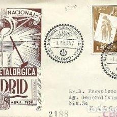 Sellos: SOBRE 319 MATASELLOS ESPECIAL EXPOSICION NACIONAL SIDERO METALURGICA 1 A 15 DE ABRIL 1957 MADRID. Lote 159766614