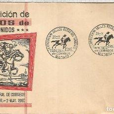 Sellos: MADRID MAT EXPOSICION SELLOS USA PONEY EXPRESS CABALLO HORSE 1960. Lote 159844294
