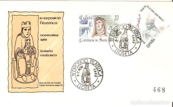 RARO SOBRE IV EXPOSICIÓN FILATELICA LLOSETA MALLORCA ( BALEARES ) 5-7 NOVIEMBRE 1982, (Sellos - Historia Postal - Sello Español - Sobres Primer Día y Matasellos Especiales)