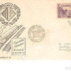 Sellos: EXPOSICIÓN FILATELICA DE MATARÓ 29 DE OCTUBRE 1949 CERTIFICADO LLEGADA A BARCELONA. Lote 160958582