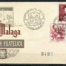Sellos: SOBRE PRIMER DÍA, EXPOSICIÓN FILATELIA MALAGA, 1953, EDIFIL: 1108 Y 1103. Lote 161118546