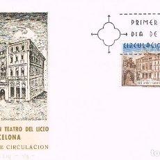 Sellos: EDIFIL 2114, 125 ANIVº GRAN TEATRO LICEO BARCELONA PRIMER DIA DE 7-11-1972 SFC. Lote 238465510