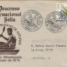 Sellos: 1975 RIBADESELLA ( ASTURIAS ) 39 DESCENSO INTERNACIONAL DEL SELLA , FIESTAS PIRAGUAS - SOBRE . Lote 161383050