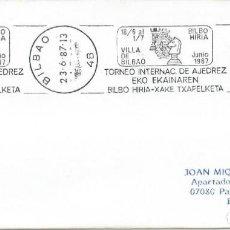 Sellos: 1987. BILBAO. RODILLO/SLOGAN. TORNEO INTERNACIONAL DE AJEDREZ. CHESS. DEPORTES/SPORTS.. Lote 161462018