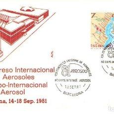 Sellos: CONGRESO INTERNACIONAL DE AEROSOLES , BARCELONA 14-18 DE SEPTIEMBRE 1981 SOBRE ALFIL. Lote 162762826
