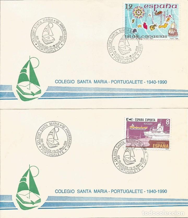 ESPAÑA 1990 - SOBRES EXPOSICION FILATELICA DE PORTUGALETE (Sellos - Historia Postal - Sello Español - Sobres Primer Día y Matasellos Especiales)