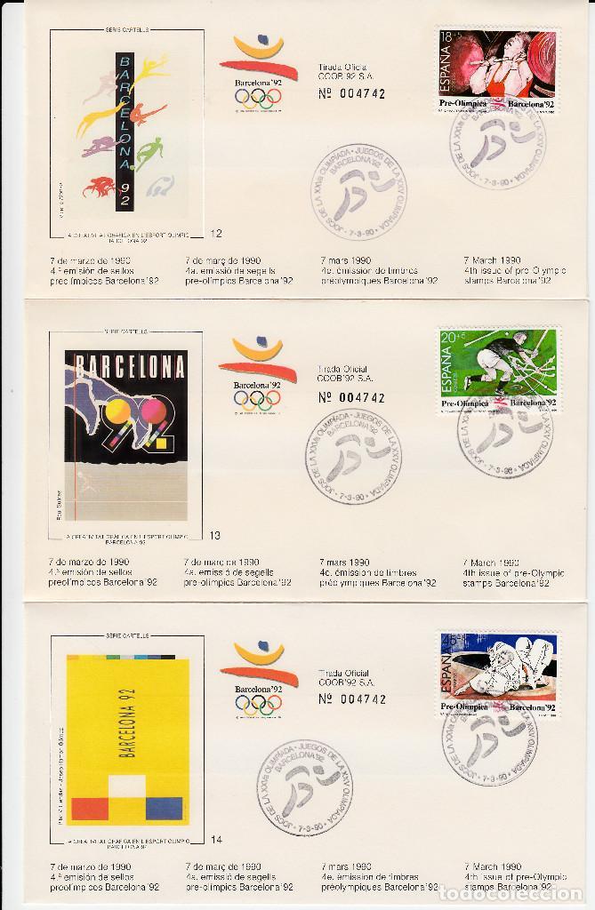 Sellos: OLIMPIADAS BARCELONA 1992 -10 JUEGOS COMPLETOS DE LA 4A. EMISIÓN --NUM. CORRELATIVOS TOTAL 30 SOBRES - Foto 2 - 163474970