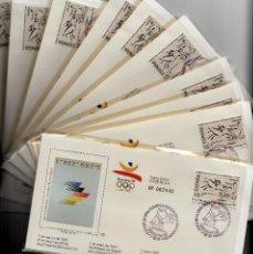 Sellos: OLIMPIADAS BARCELONA 1992 -10 JUEGOS COMPLETOS DE LA 6A. EMISIÓN --NUM. CORRELATIVOS TOTAL 30 SOBRES. Lote 163489070