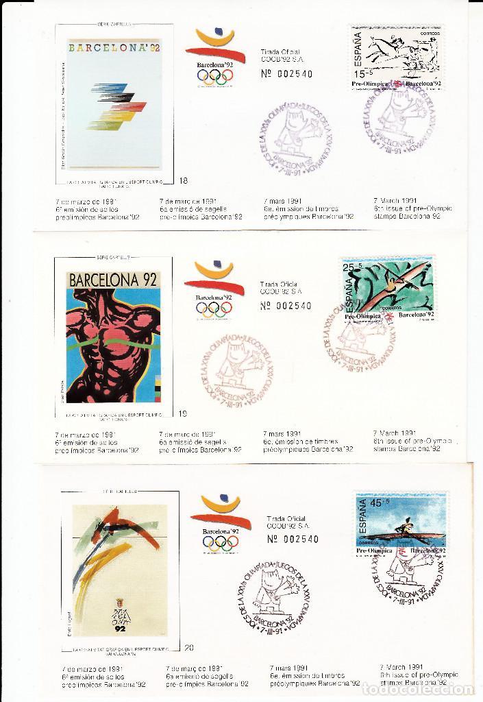 Sellos: OLIMPIADAS BARCELONA 1992 -10 JUEGOS COMPLETOS DE LA 6A. EMISIÓN --NUM. CORRELATIVOS TOTAL 30 SOBRES - Foto 2 - 163489070