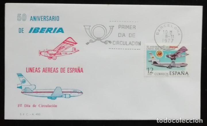 1977. SOBRE. SPD. 50 ANIVERSARIO DE LA COMPAÑÍA AÉREA IBERIA. CUÑO DE BARCELONA. (Sellos - Historia Postal - Sello Español - Sobres Primer Día y Matasellos Especiales)