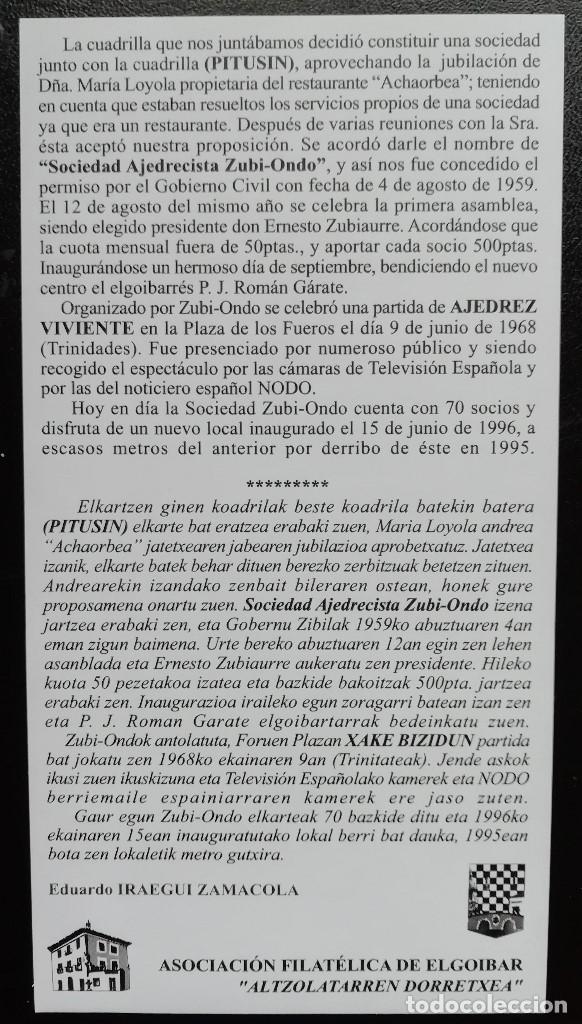 Sellos: 2009. Sobre. 50 años de la Sociedad Ajedrecística Zubi Ondo y de la Sociedad Ciclista Gure Bide. - Foto 3 - 165067114