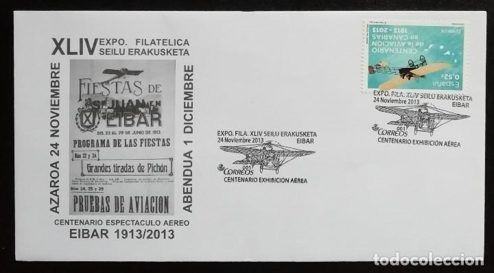 2013. SOBRE. CARTEL DE LAS FIESTAS DE SAN JUAN. RECUERDO PRIMERA EXHIBICIÓN AÉREA EN EIBAR (1913) (Sellos - Historia Postal - Sello Español - Sobres Primer Día y Matasellos Especiales)