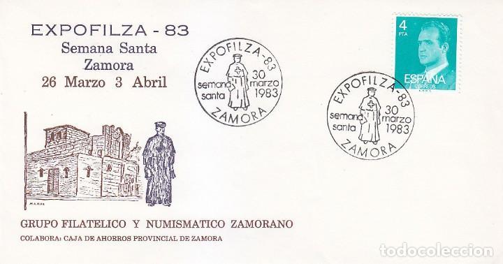 RELIGION SEMANA SANTA ZAMORANA EXPOFILZA, ZAMORA 1983. RARO MATASELLOS EN SOBRE ILUSTRADO. (Sellos - Historia Postal - Sello Español - Sobres Primer Día y Matasellos Especiales)