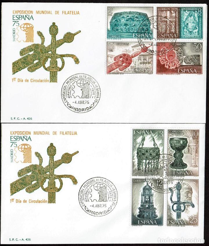 SPD ESPAÑA 1975 - EXPOSICIÓN MUNDIAL DE FILATELIA - ORFEBRERÍA ESPAÑOLA (Sellos - Historia Postal - Sello Español - Sobres Primer Día y Matasellos Especiales)