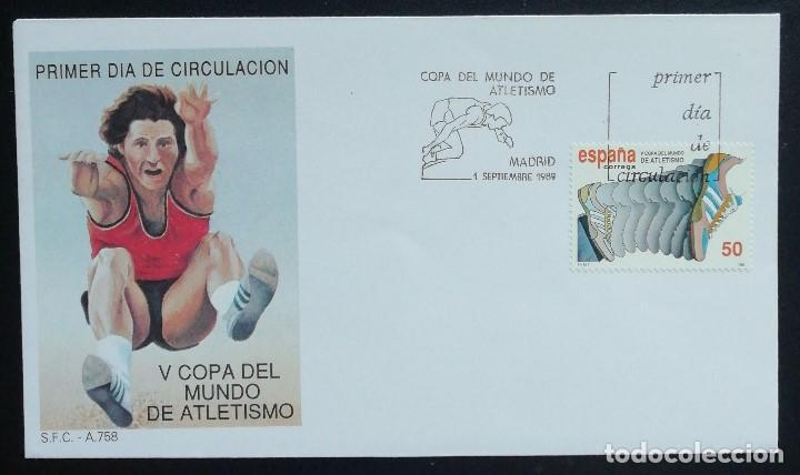 1989. SOBRE. SPD. MATASELLO V COPA DEL MUNDO DE ATLETISMO. SELLO ALUSIVO. MADRID. (Sellos - Historia Postal - Sello Español - Sobres Primer Día y Matasellos Especiales)