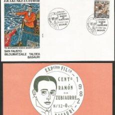 Sellos: ESPAÑA 1982 - IV EXPOSICION FILATELICA DE BASAURI - 1 SOBRE CON 1 TARJETA EXPLICATIVA. Lote 165429398