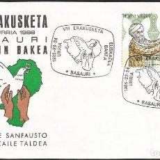 Sellos: ESPAÑA 1986 - VIII EXPOSICION FILATELICA DE BASAURI - 1 SOBRE. Lote 165444842