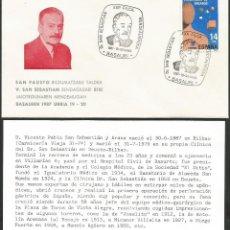 Sellos: ESPAÑA 1987 - IX EXPOSICION FILATELICA DE BASAURI - 1 SOBRE Y 1 TARJETA EXPLICATIVA. Lote 165449858
