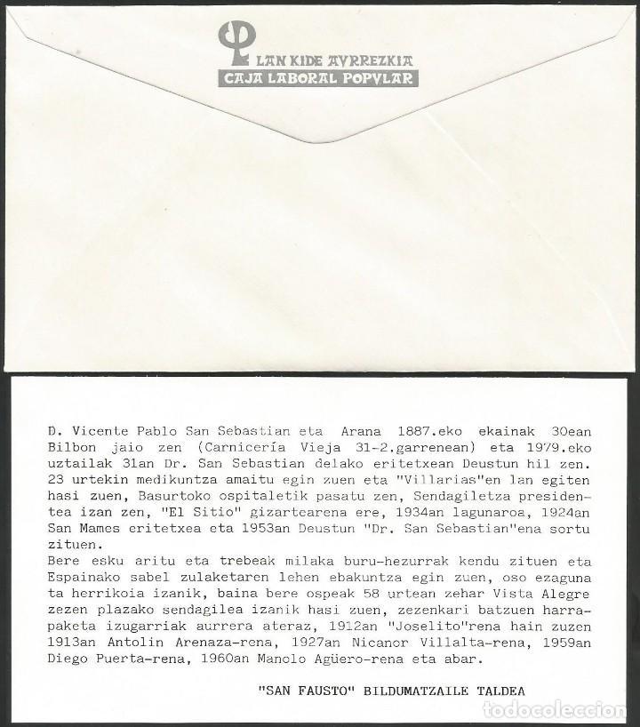Sellos: ESPAÑA 1987 - IX EXPOSICION FILATELICA DE BASAURI - 1 SOBRE Y 1 TARJETA EXPLICATIVA - Foto 2 - 165449858