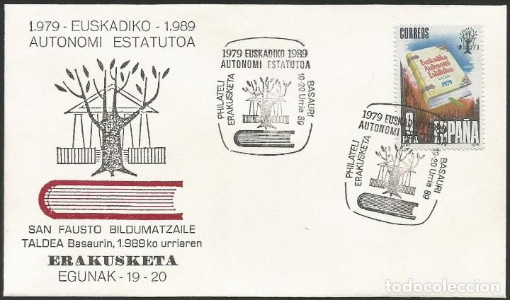 ESPAÑA 1989 - XI EXPOSICION FILATELICA DE BASAURI - 1 SOBRE (Sellos - Historia Postal - Sello Español - Sobres Primer Día y Matasellos Especiales)