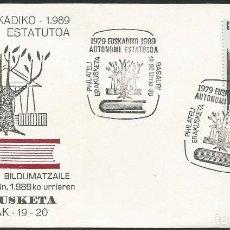 Sellos: ESPAÑA 1989 - XI EXPOSICION FILATELICA DE BASAURI - 1 SOBRE. Lote 165450390