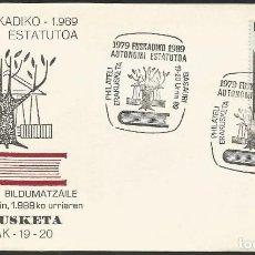 Sellos: ESPAÑA 1989 - XI EXPOSICION FILATELICA DE BASAURI - 1 SOBRE. Lote 165450526