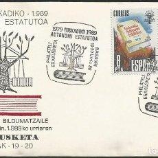 Sellos: ESPAÑA 1989 - XI EXPOSICION FILATELICA DE BASAURI - 1 SOBRE Y 1 HOJA EXPLICATIVA. Lote 165450894