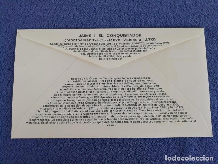 Sellos: Sobre con imagen y sello VII centenario de la muerte del Rey Don Jaime I el conquistador. Año 77 - Foto 2 - 165772910