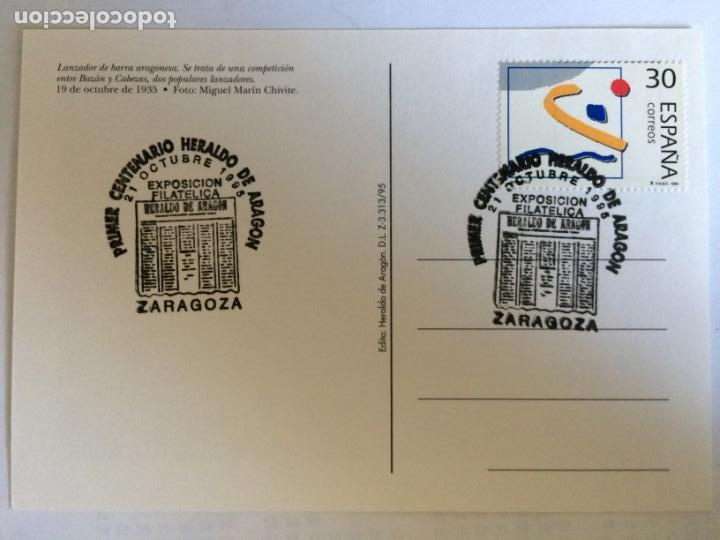 Sellos: Sobre Primer Centenario Heraldo de Aragon y 4 Postales del tema. 21 0ct 1995 - Foto 3 - 166377702
