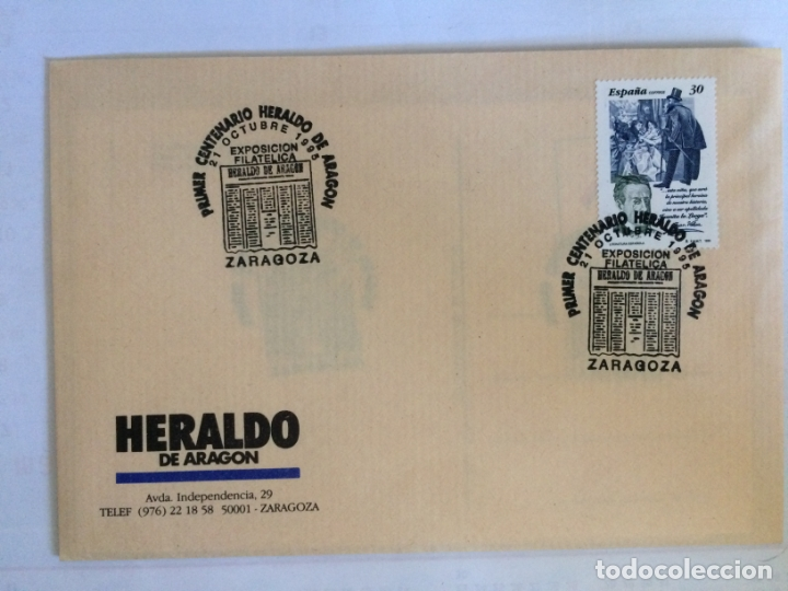 SOBRE PRIMER CENTENARIO HERALDO DE ARAGON Y 4 POSTALES DEL TEMA. 21 0CT 1995 (Sellos - Historia Postal - Sello Español - Sobres Primer Día y Matasellos Especiales)